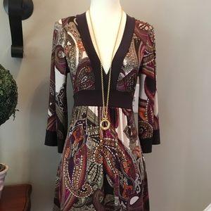 Body Central Brown Paisley Mini Dress M